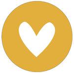 Muurcirkel 30 cm mosterdgeel hart wit