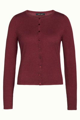 King Louie Cardi Roundneck Cocoon Cherise red