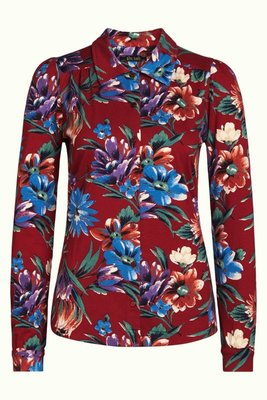 King Louie blouse bluebell true red