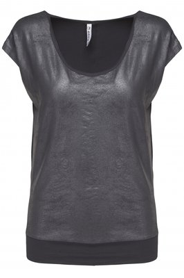 Zoso leather look t-shirt navy