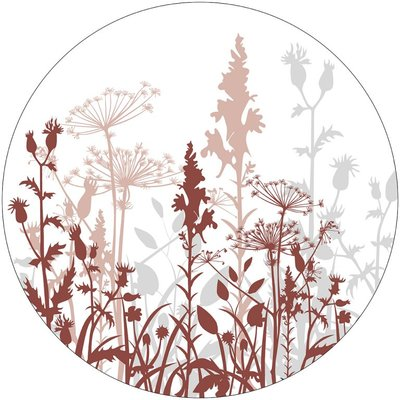 Muurcirkel 40 cm steenrood veldbloemen