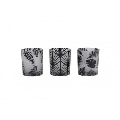 Set van 3 windlichtjes zwart/wit glas