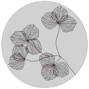 Muurcirkel 30 cm lichtgrijs gedroogde bloemen
