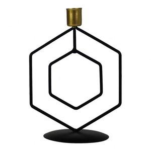 Kandelaar Hexagon zwart/goud