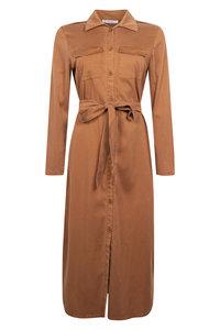 Zoso Tencel lange jurk Mare Cognac