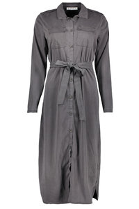 Zoso Tencel lange jurk Mare grijs