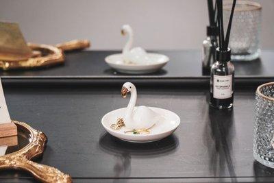 Sieradenschaaltje flamingo wit - goud